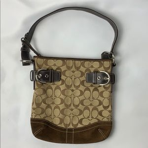 Coach brown signature pattern purse